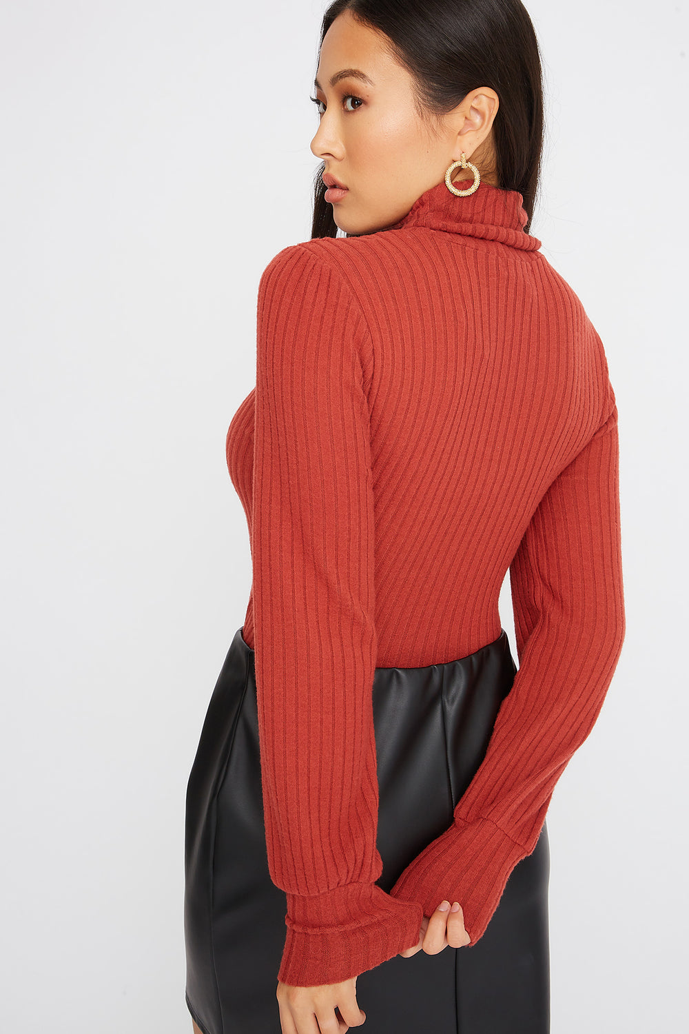 Turtleneck Puff Sleeve Sweater Rust