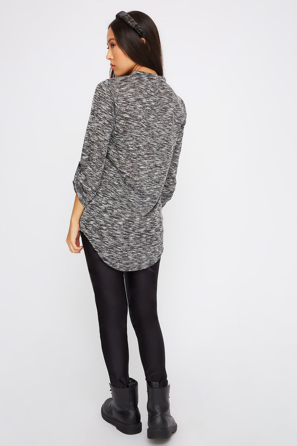 Space Dye Roll-Tab Tunic Black