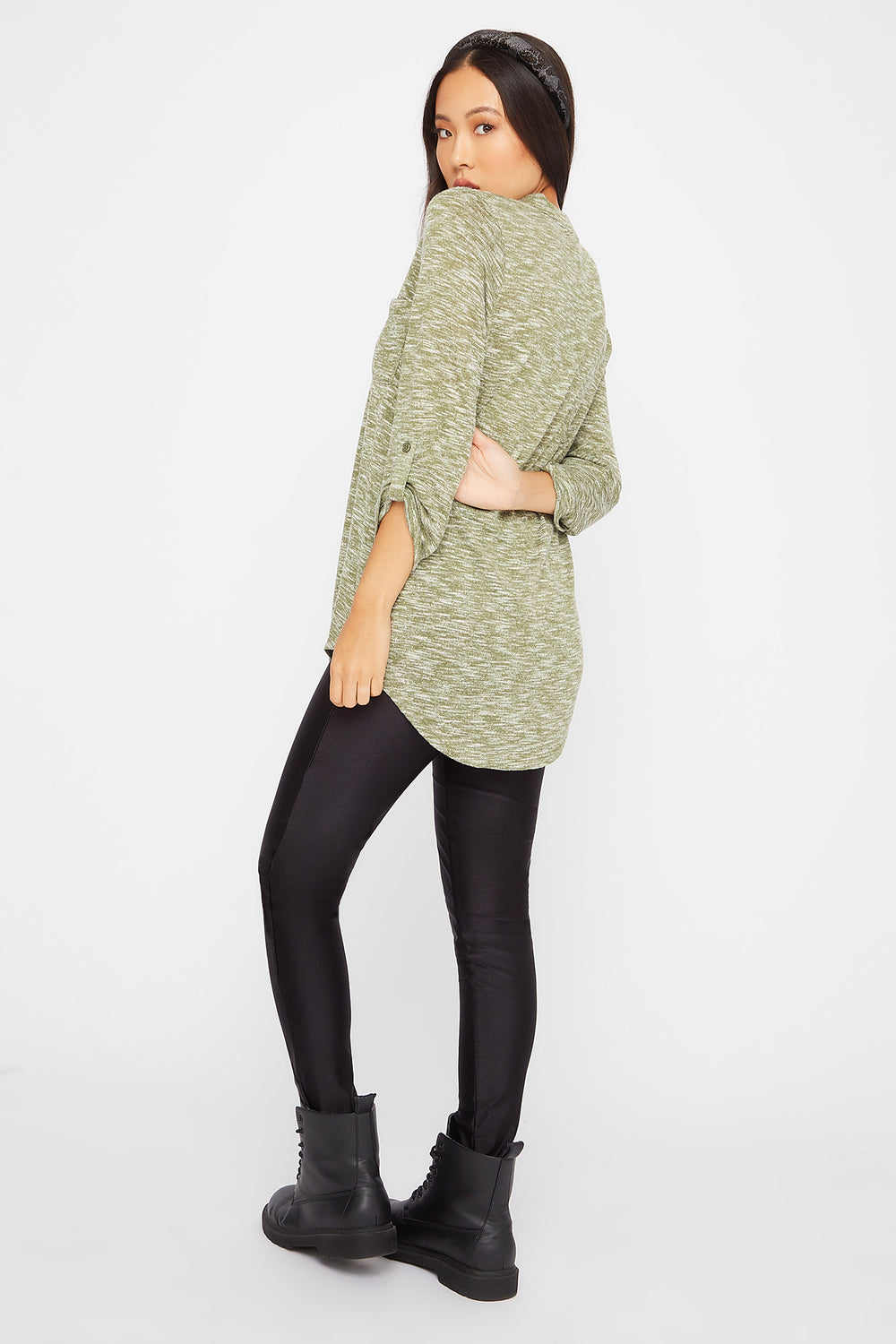 Space Dye Roll-Tab Tunic Green