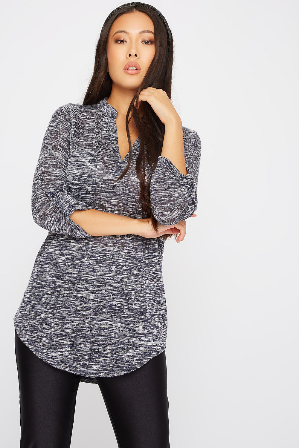 Space Dye Roll-Tab Tunic Navy