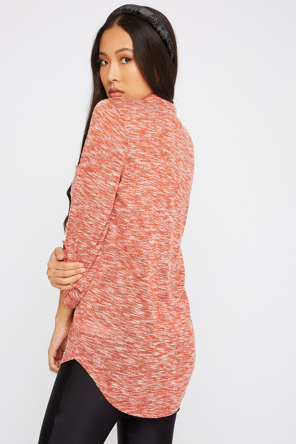 Space Dye Roll-Tab Tunic Red