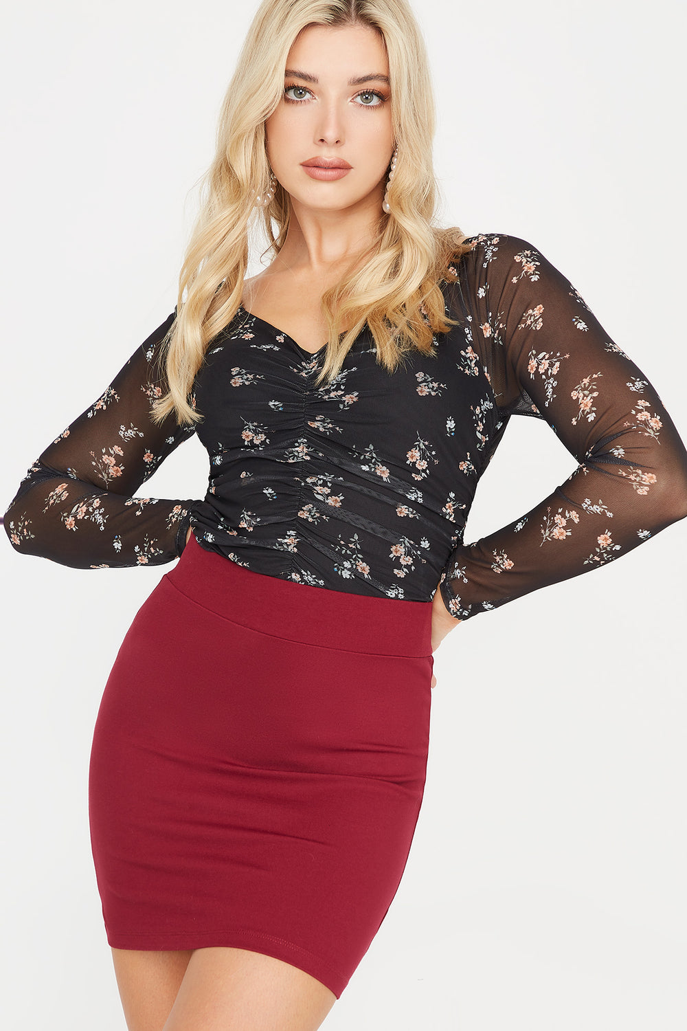 Floral Mesh V-Neck Ruched Blouse Multi