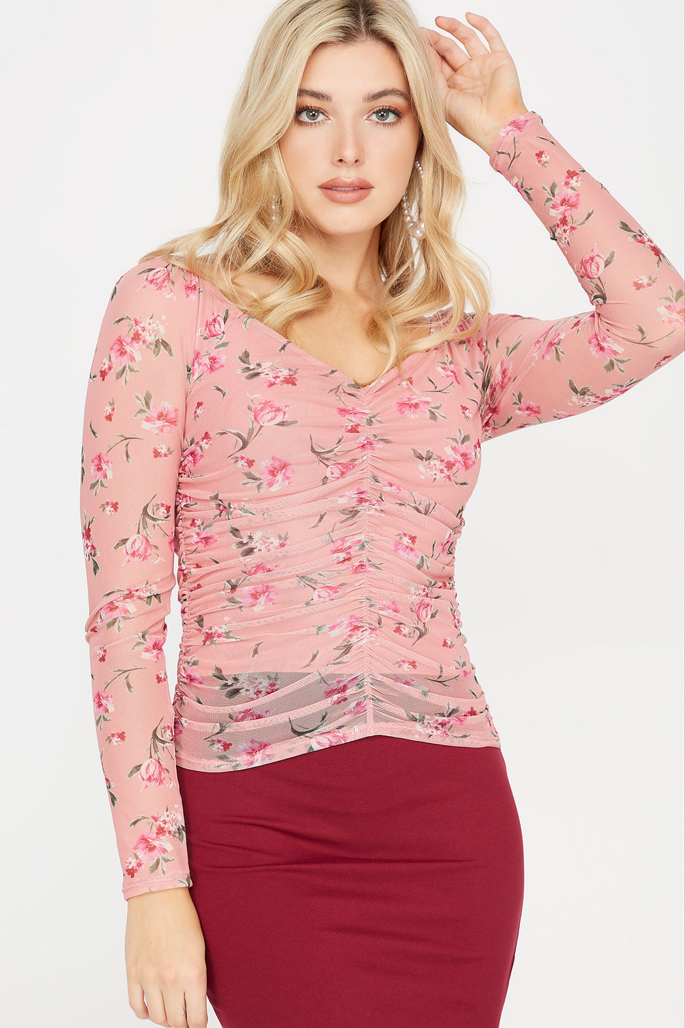 Floral Mesh V-Neck Ruched Blouse Rose
