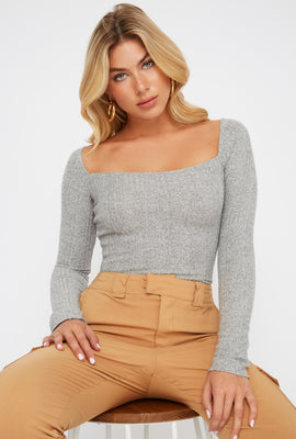 Square Neck Ribbed Long Sleeve