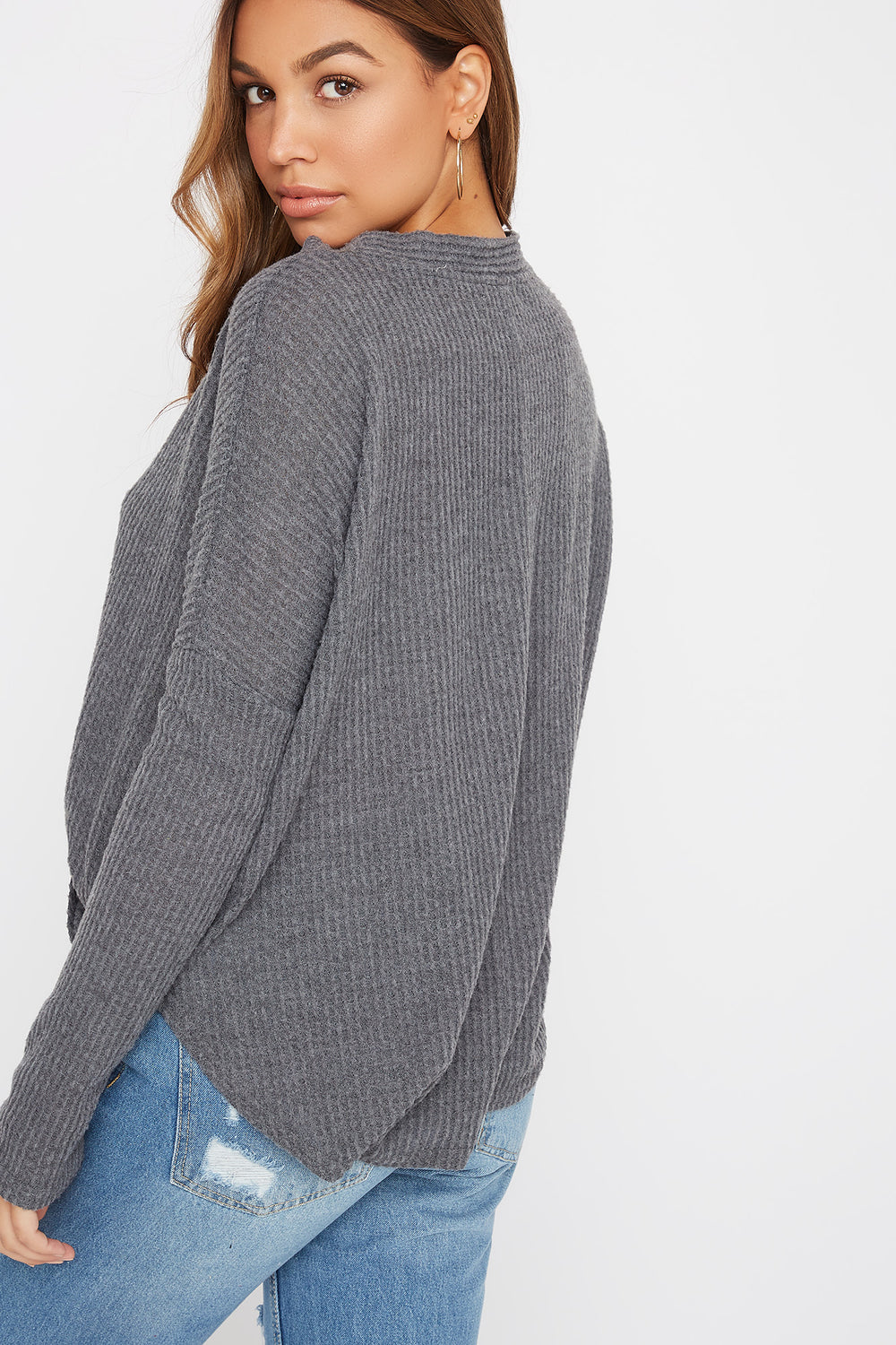 Waffle Button-Up Long Sleeve Heather Grey
