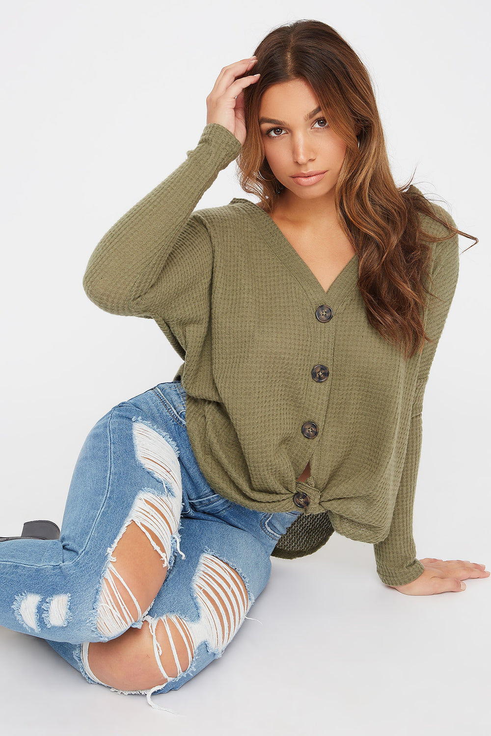 Waffle Button-Up Long Sleeve Dark Green