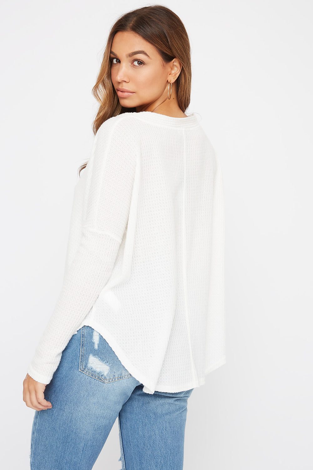 Waffle Button-Up Long Sleeve Ivory