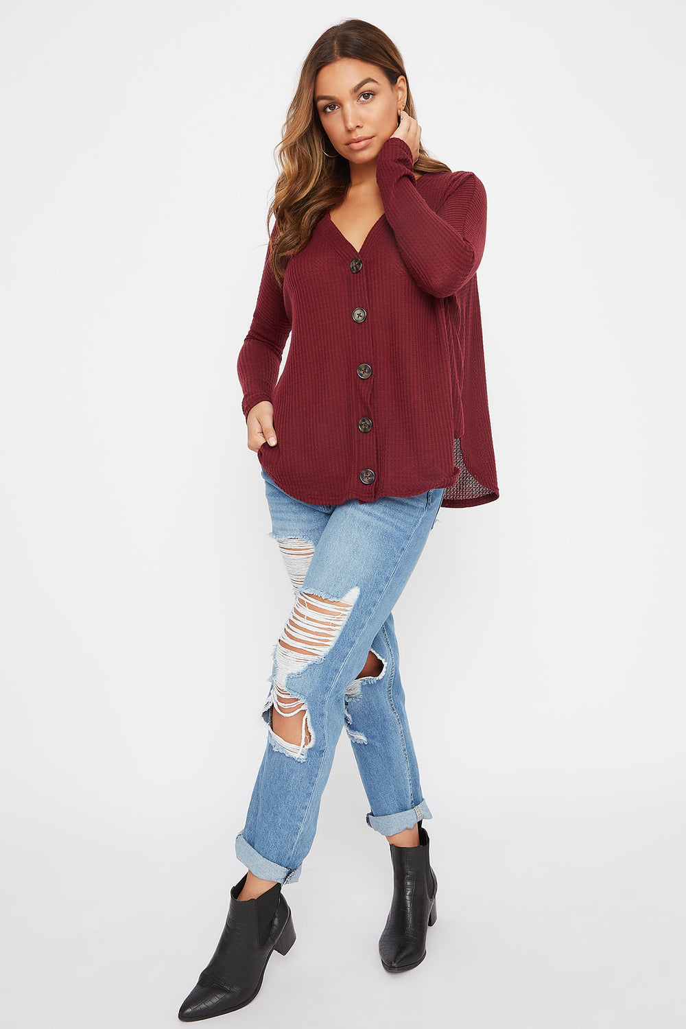 Waffle Button-Up Long Sleeve Burgundy