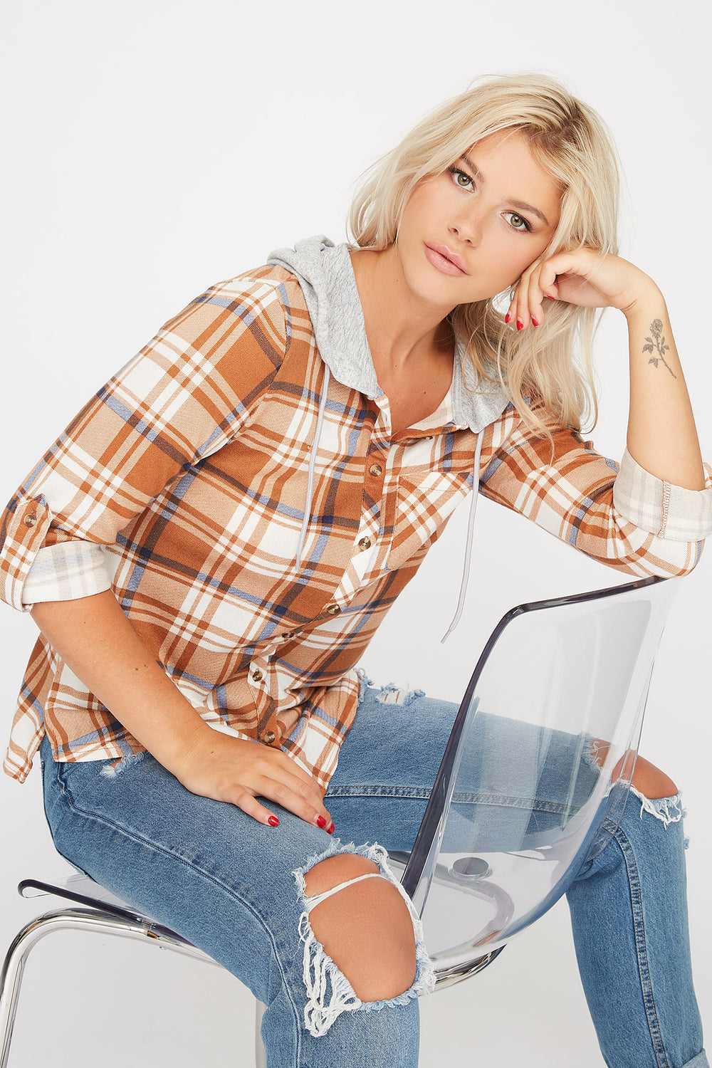 Plaid Hooded Button-Up Shirt Gold