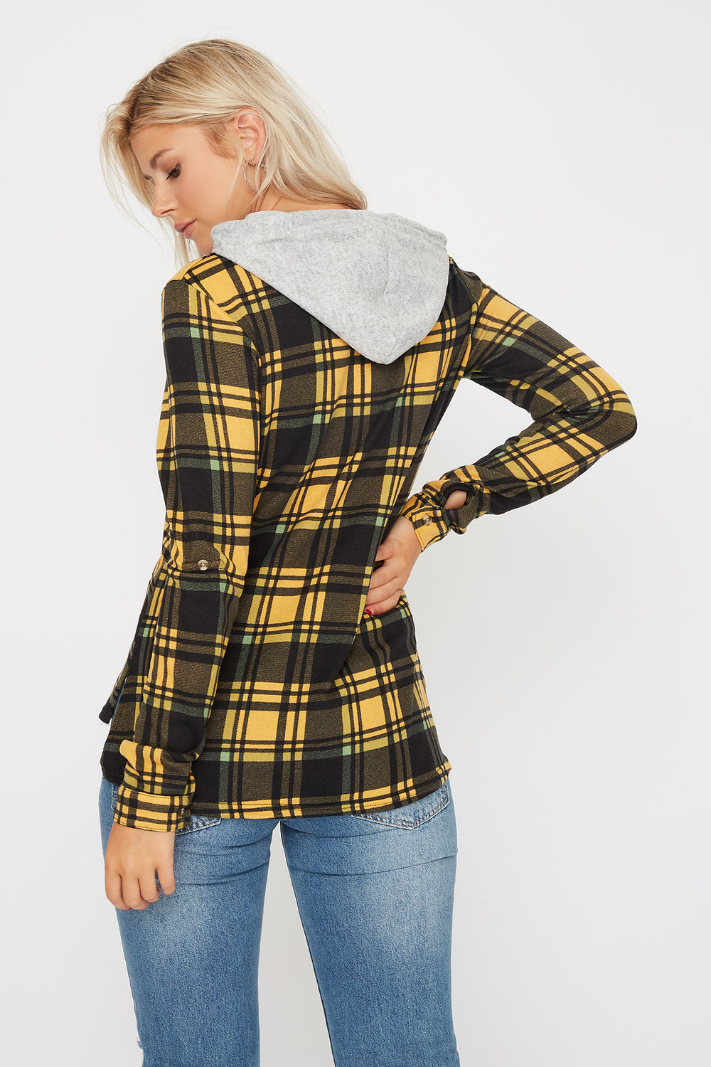 Plaid Hooded Button-Up Shirt Yellow