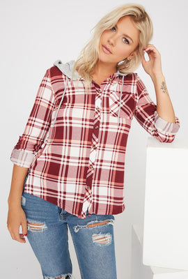 Plaid Hooded Button-Up Shirt