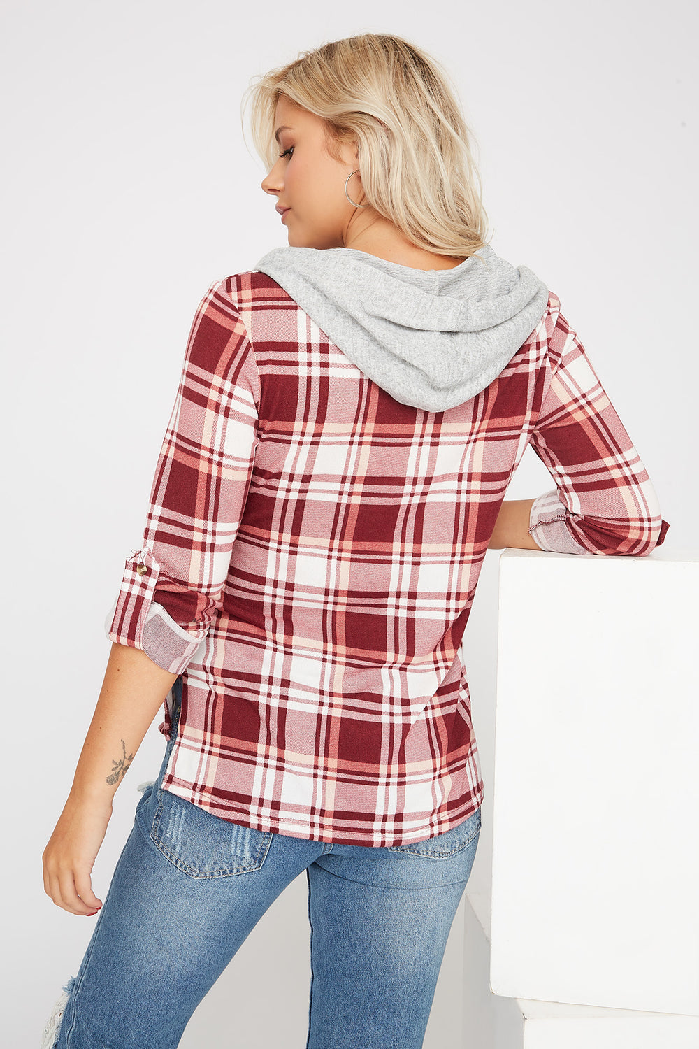 Plaid Hooded Button-Up Shirt Wine
