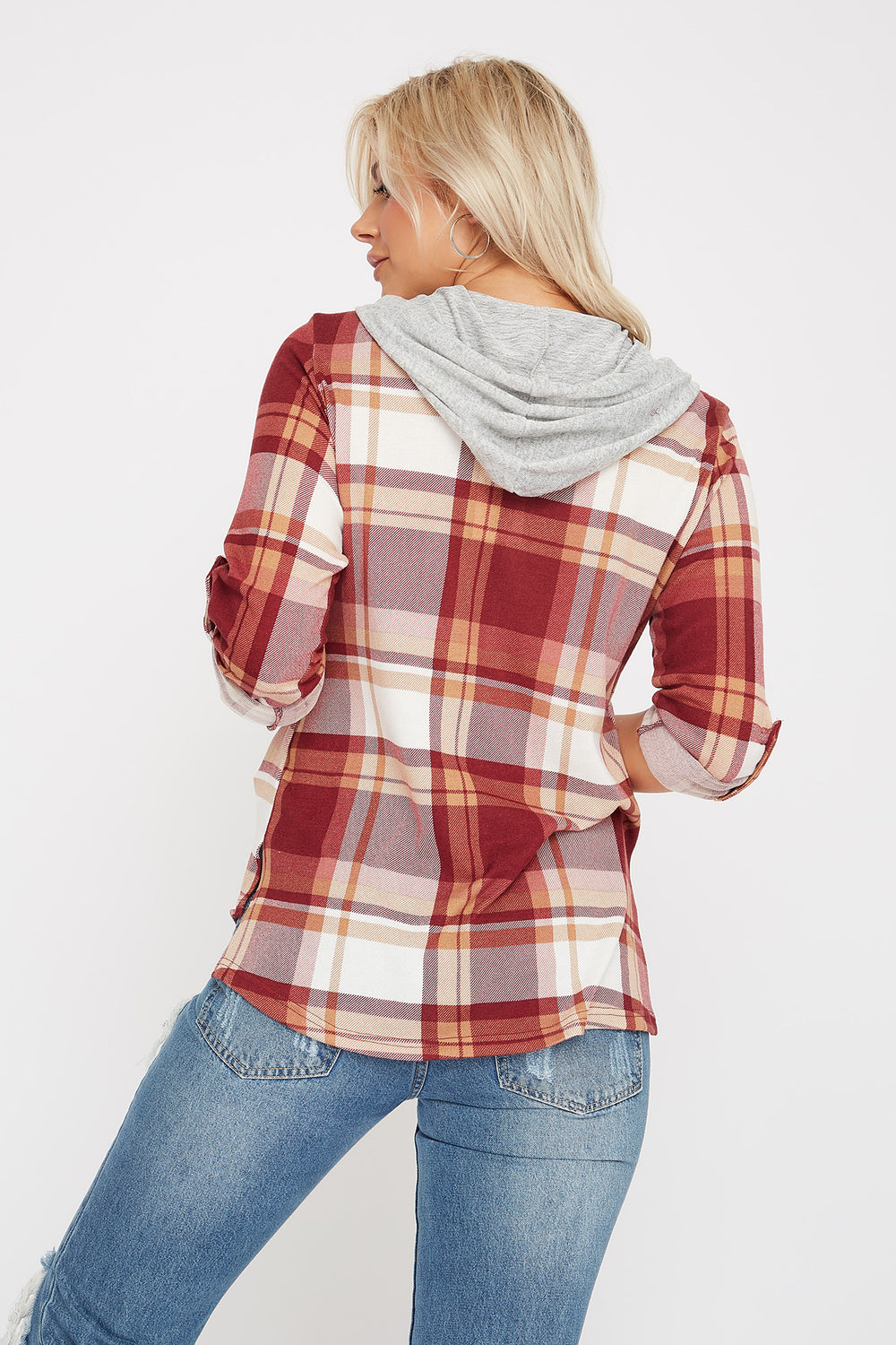 Plaid Hooded Button-Up Shirt Burgundy