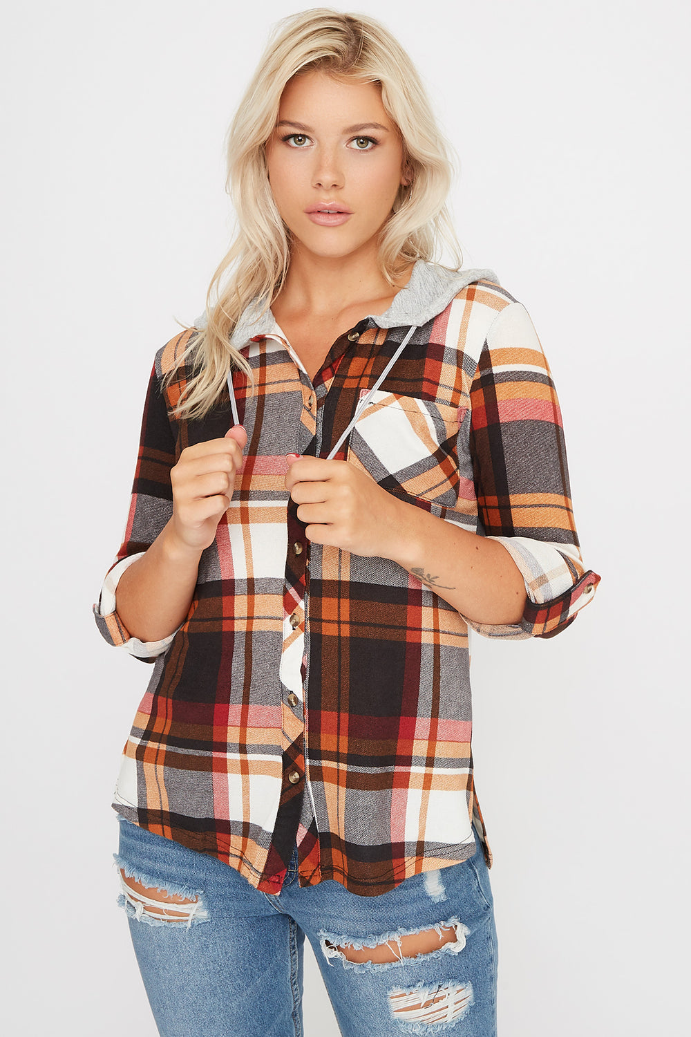 Plaid Hooded Button-Up Shirt Rust