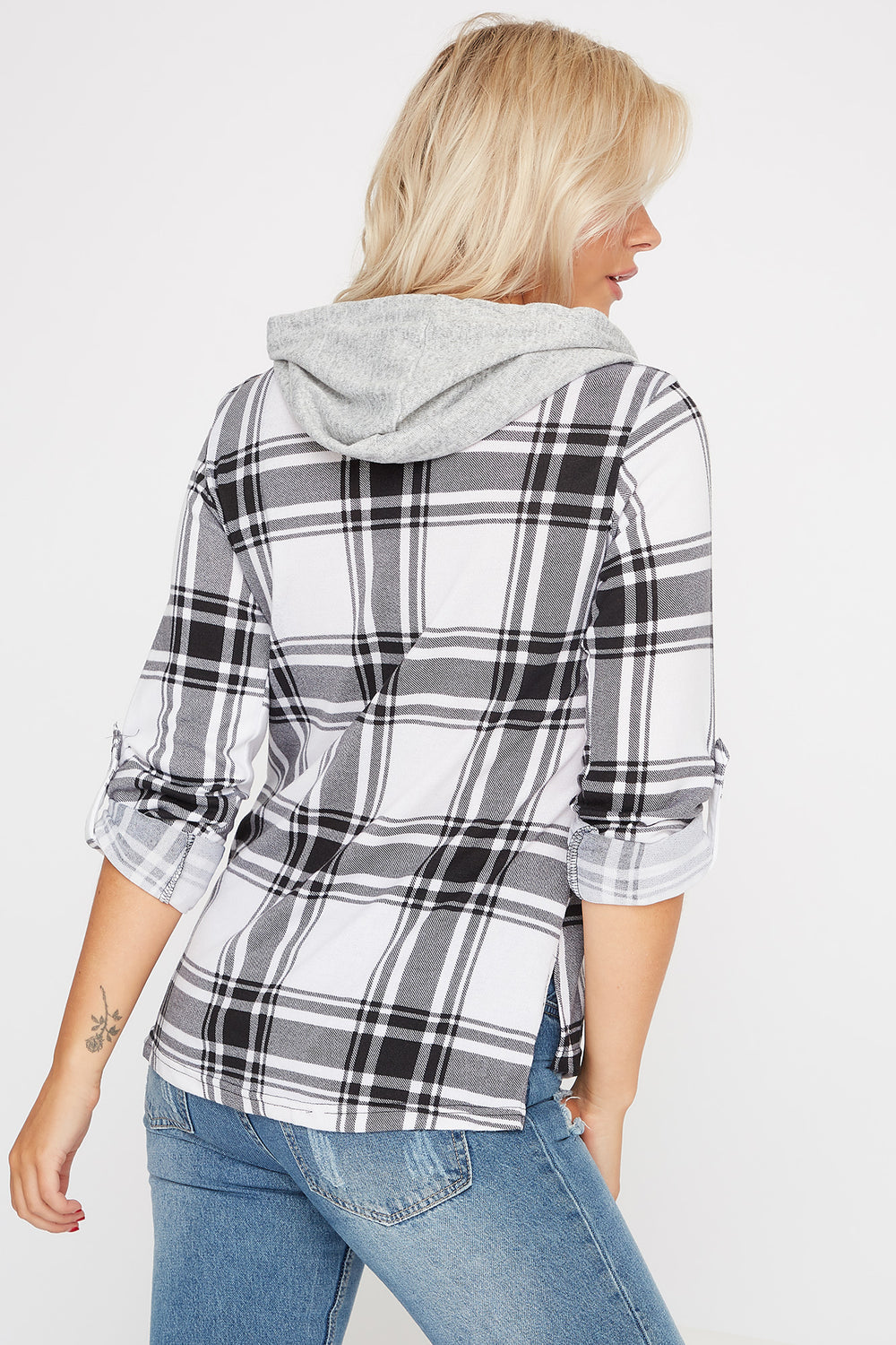 Plaid Hooded Button-Up Shirt Black with White