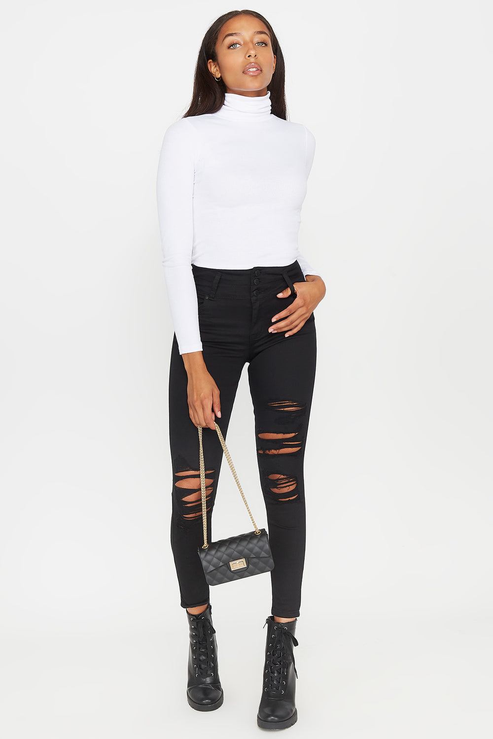 3-Tier High-Rise Push Up Distressed Skinny Jean Black