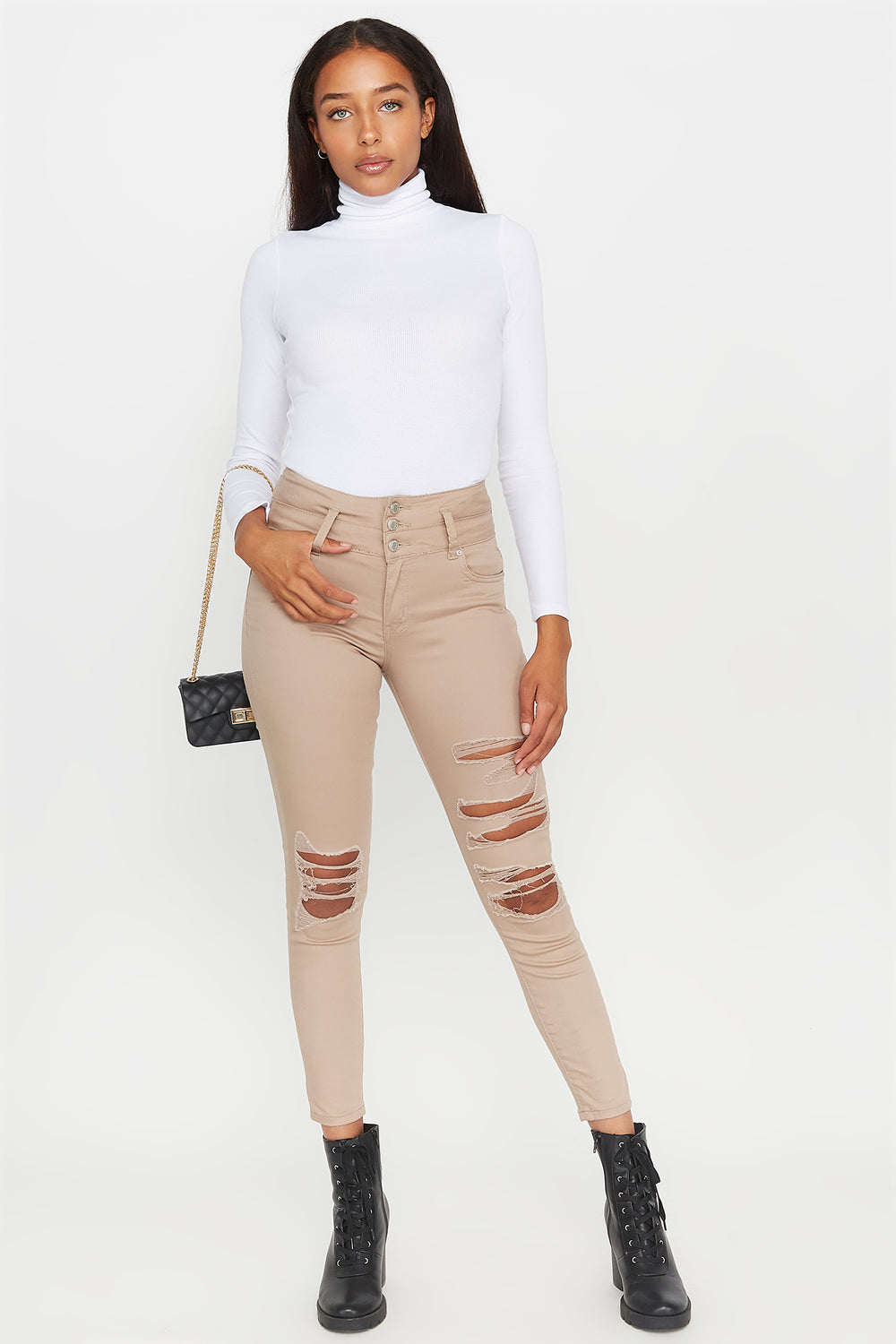 3-Tier High-Rise Push Up Distressed Skinny Jean Taupe