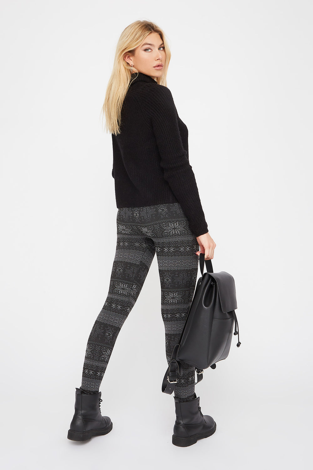 Fleece Printed Legging Black