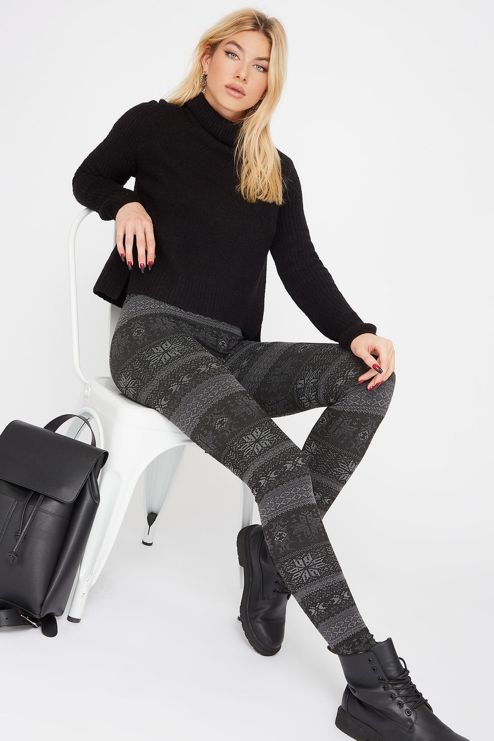 Leggings Estampados de Lana Negro