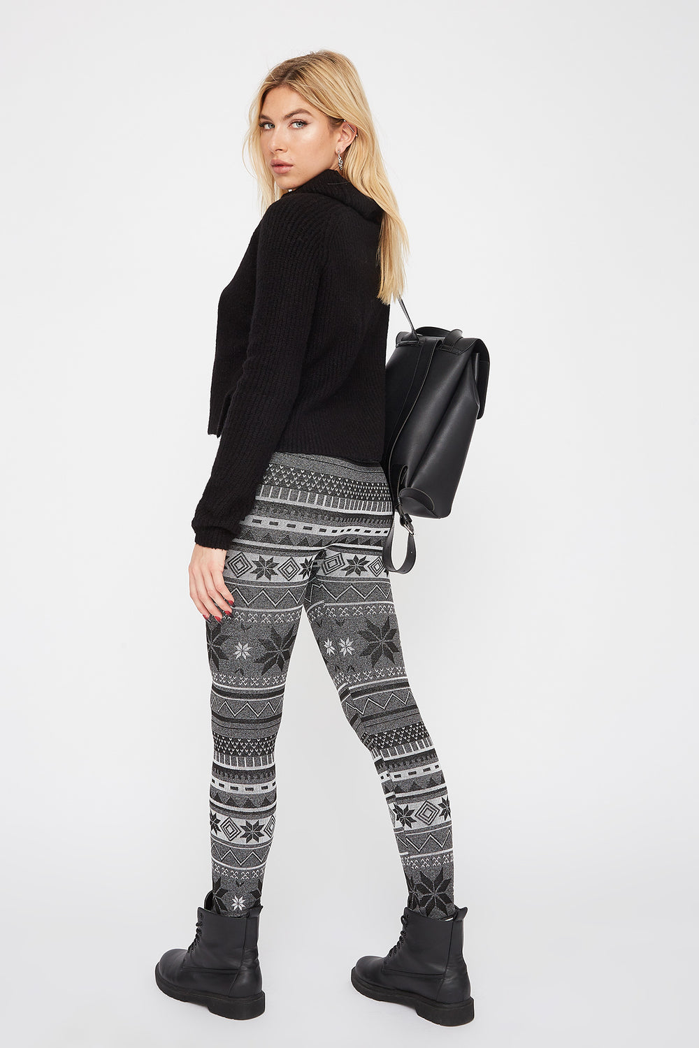 Fleece Printed Legging Charcoal