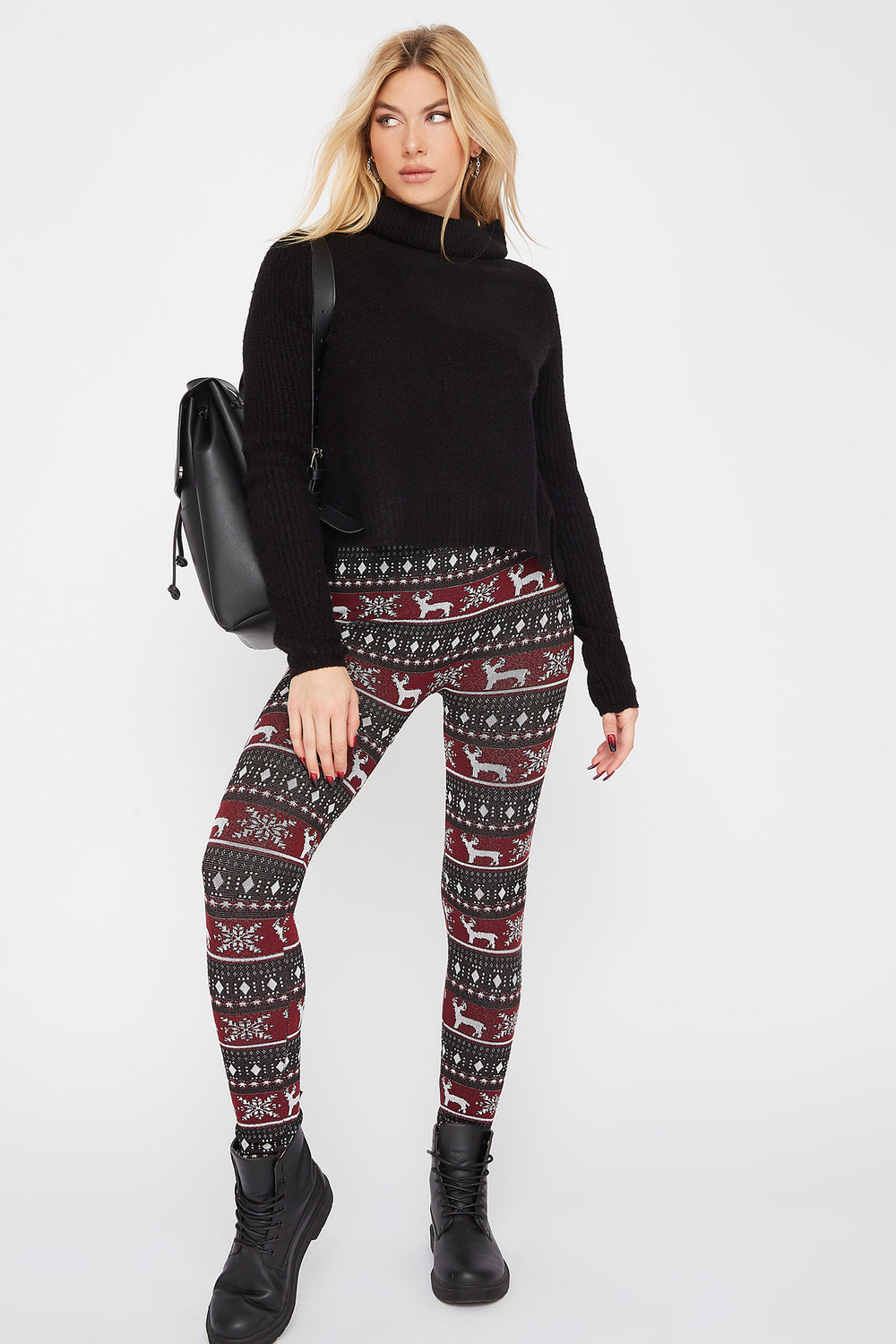 Fleece Printed Legging White