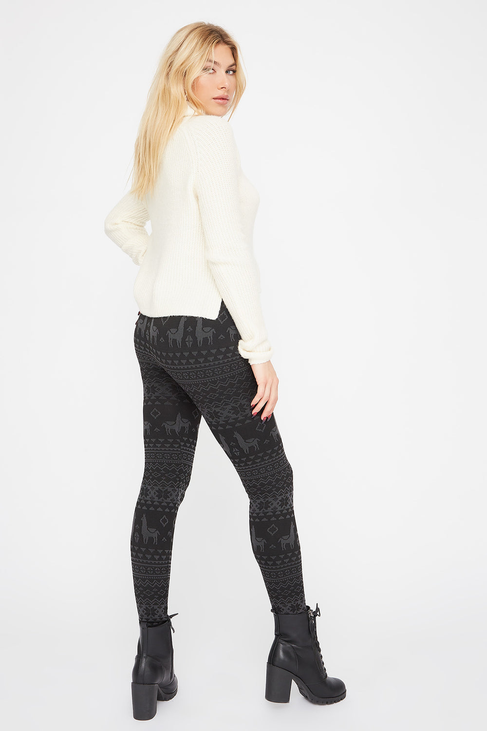 Printed Fleece Legging Black