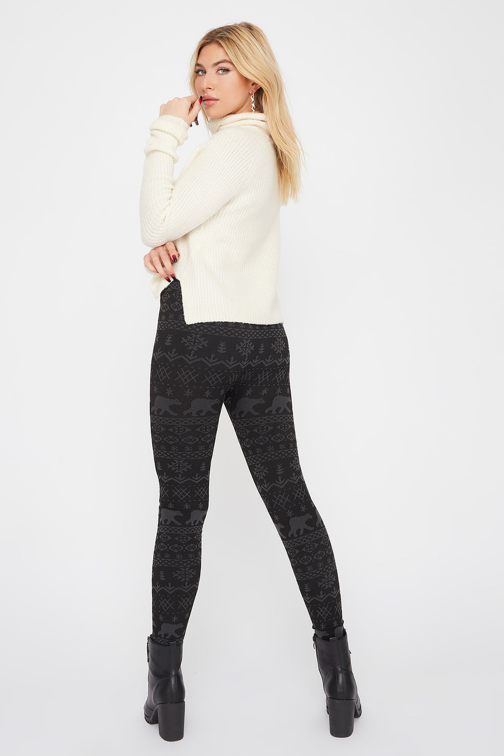Printed Fleece Legging Charcoal