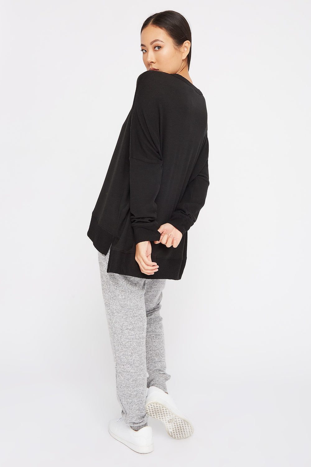 Soft Oversized Dolman Pajama Long Sleeve Black