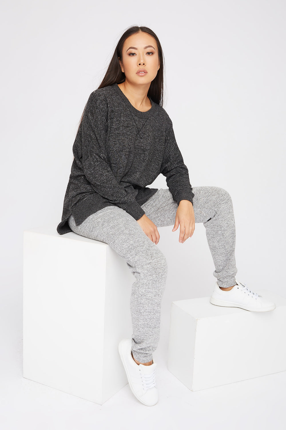 Soft Oversized Dolman Pajama Long Sleeve Charcoal