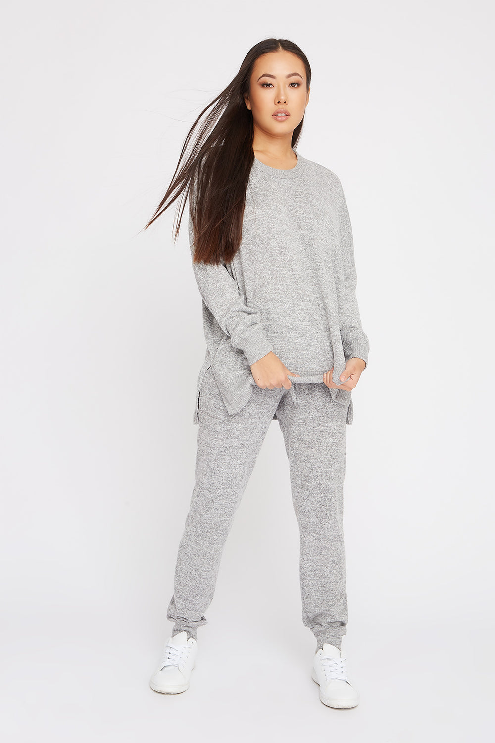 Soft Oversized Dolman Pajama Long Sleeve Heather Grey