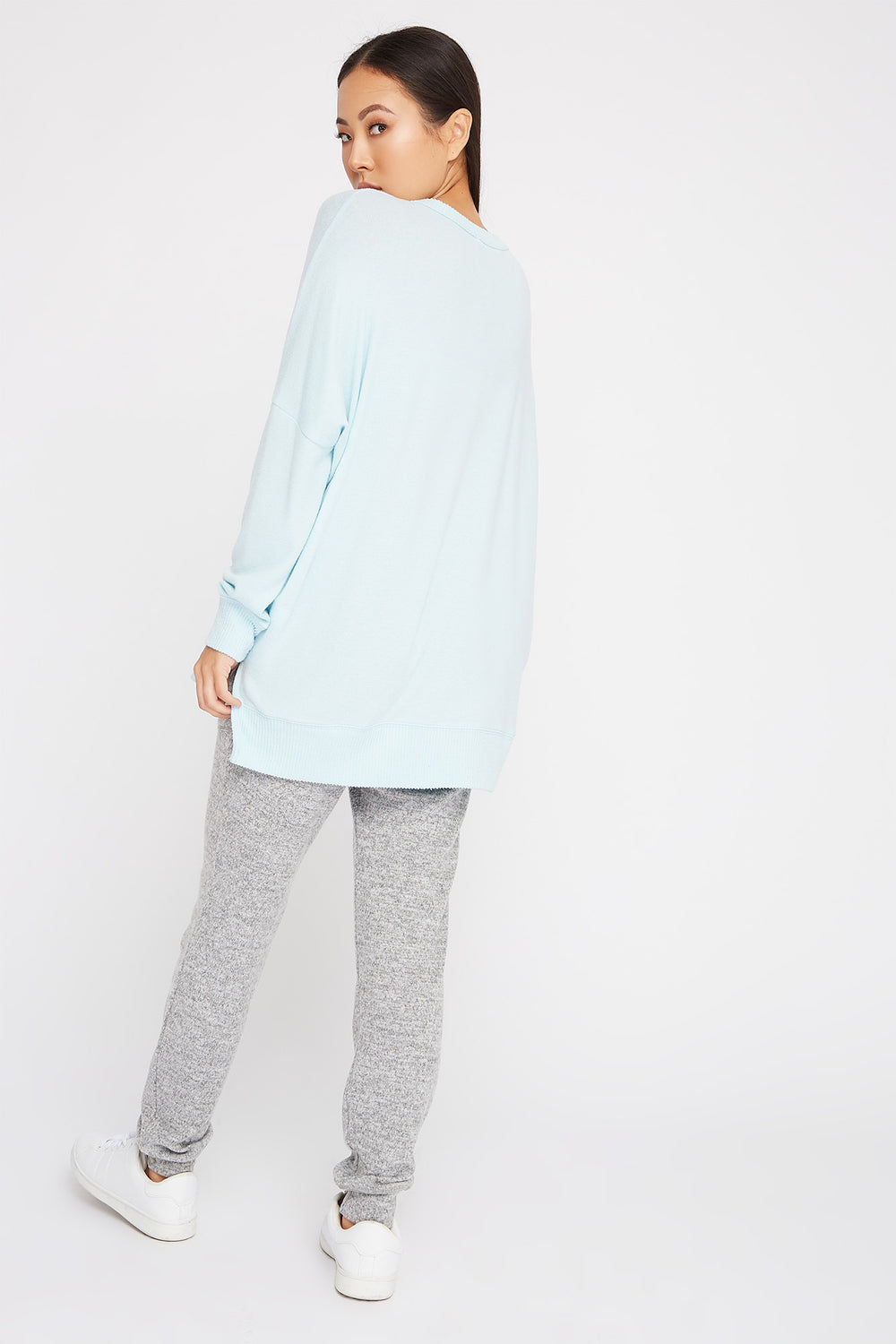 Soft Oversized Dolman Pajama Long Sleeve Light Blue