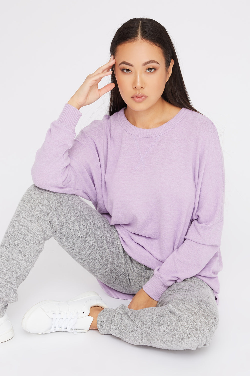 Soft Oversized Dolman Pajama Long Sleeve Lilac