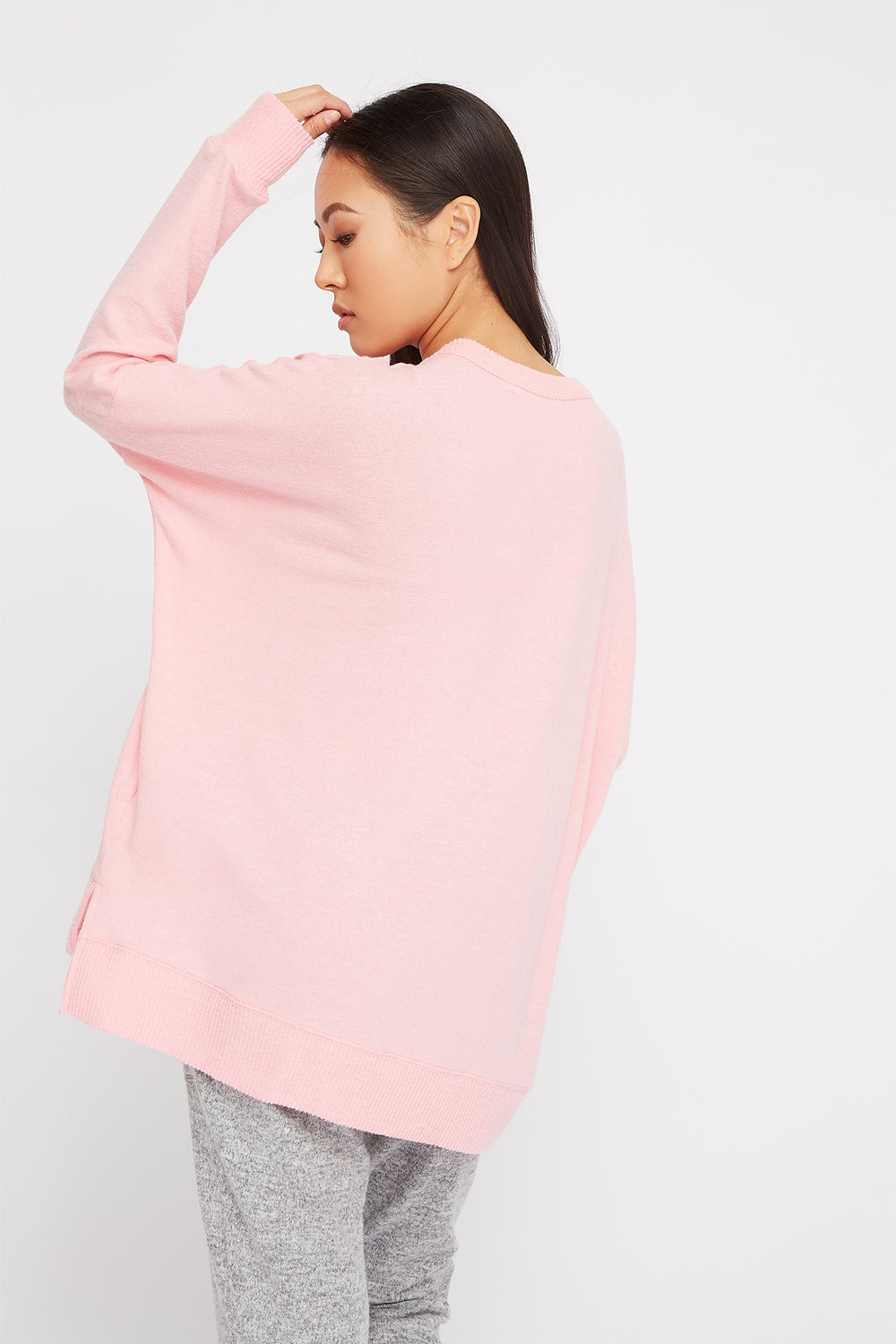 Soft Oversized Dolman Pajama Long Sleeve Pink