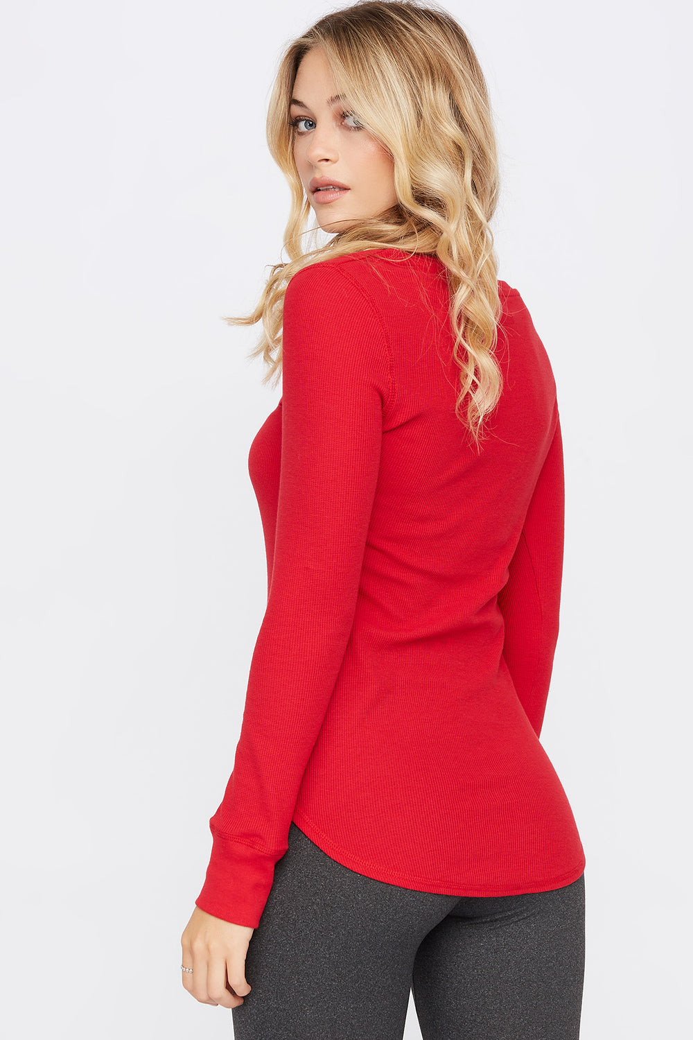 Thermal Crew Neck Long Sleeve Pajama Top Red
