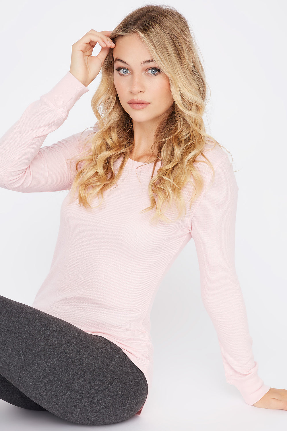 Thermal Crew Neck Long Sleeve Pajama Top Light Pink