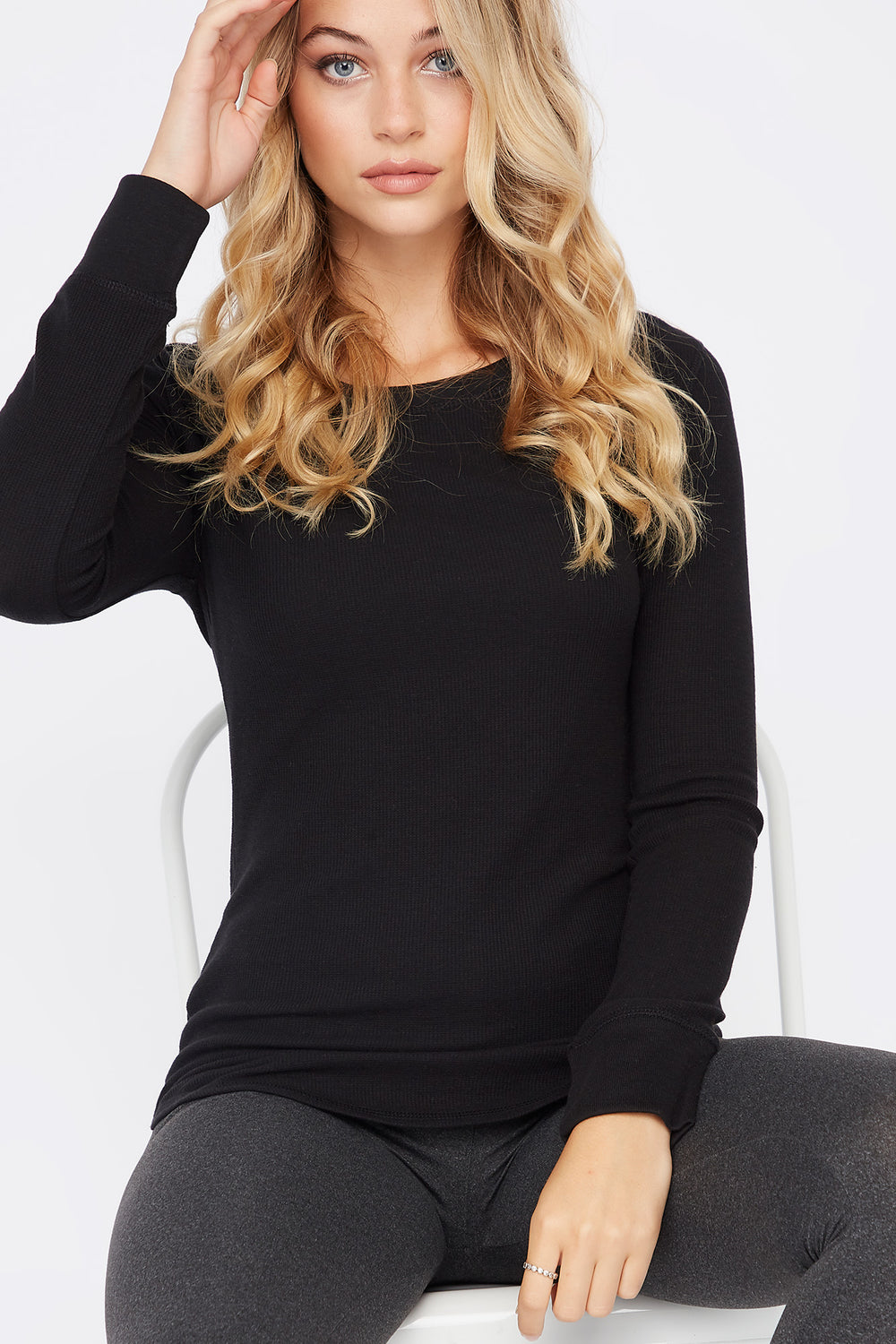 Thermal Crew Neck Long Sleeve Pajama Top Black
