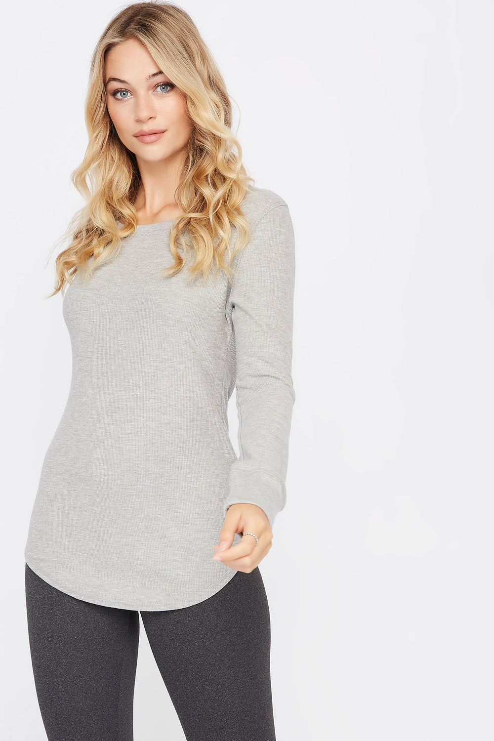 Thermal Crew Neck Long Sleeve Pajama Top Heather Grey
