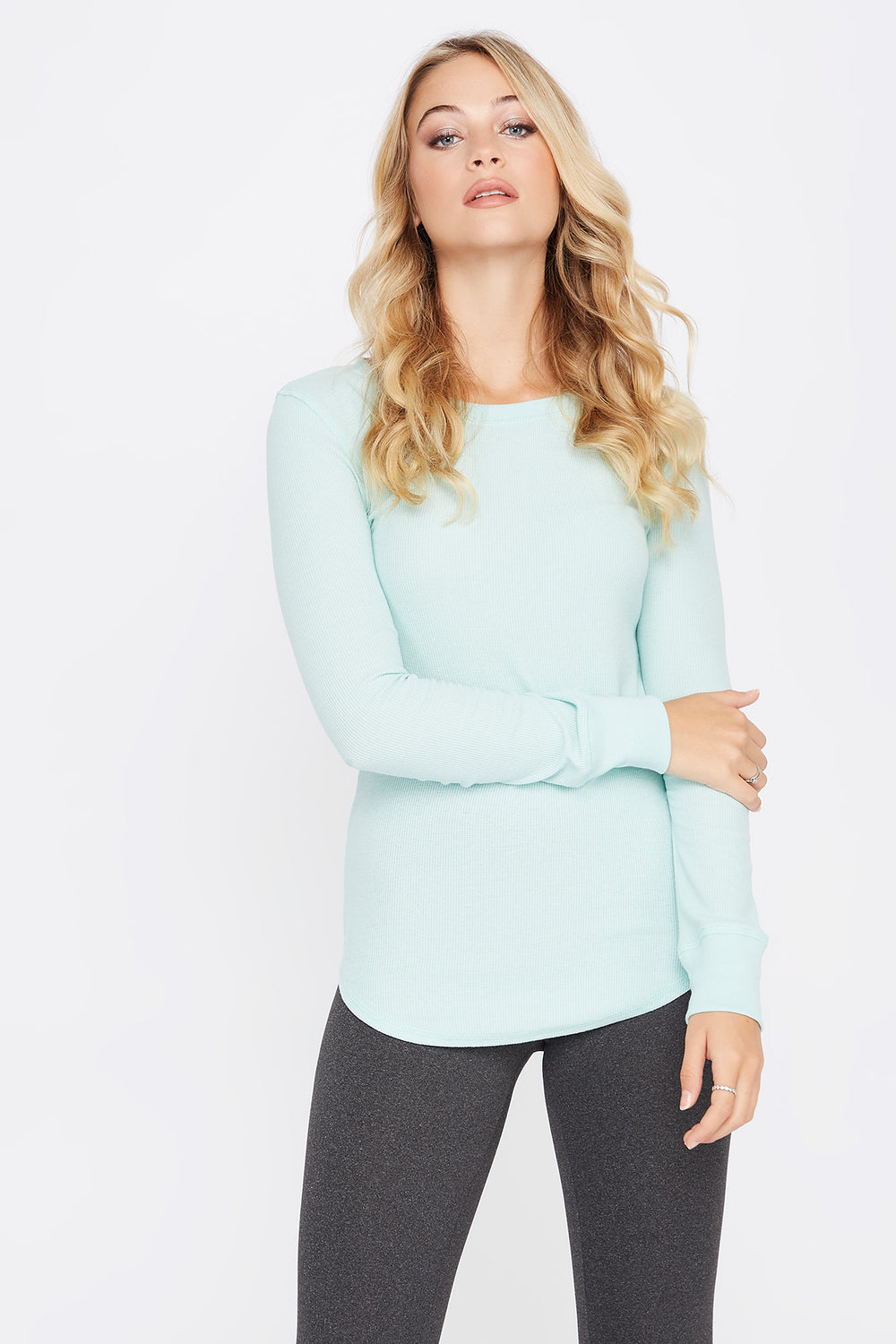 Thermal Crew Neck Long Sleeve Pajama Top Aqua