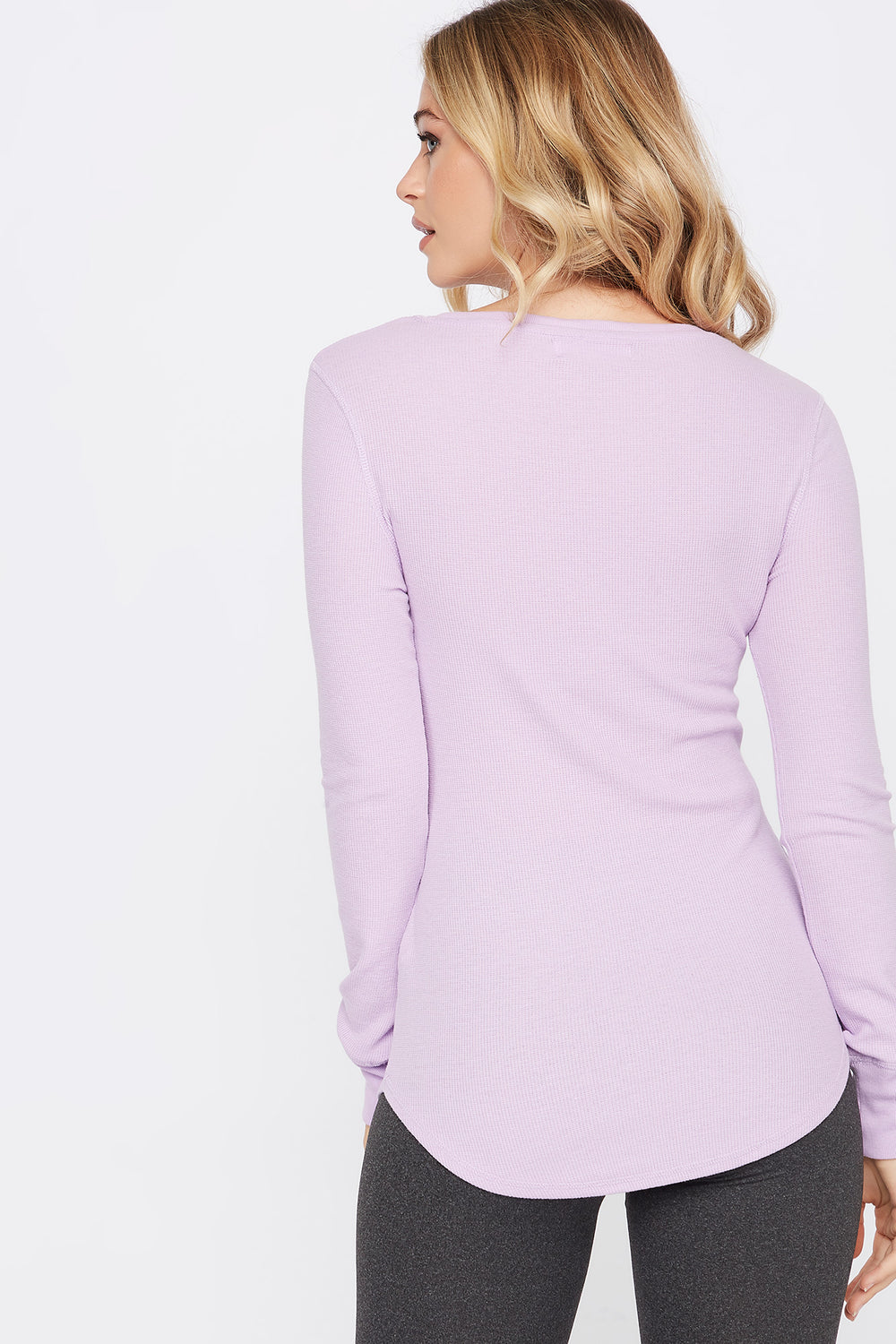 Thermal Crew Neck Long Sleeve Pajama Top Lilac