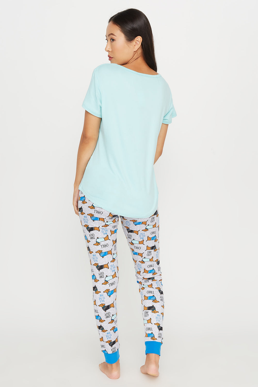 Soft Graphic Stay Cozy T-Shirt and Printed Legging Pajama Set Blue