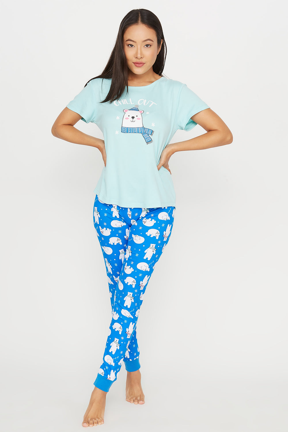 Soft Graphic Chill Out T-Shirt and Printed Legging Pajama Set Aqua
