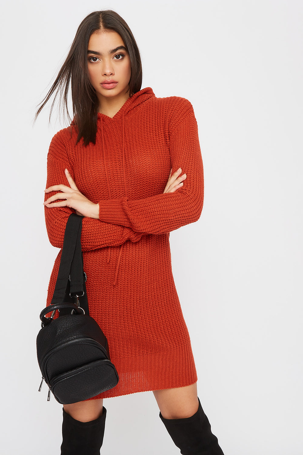 Knit Hooded Sweater Dress Rust