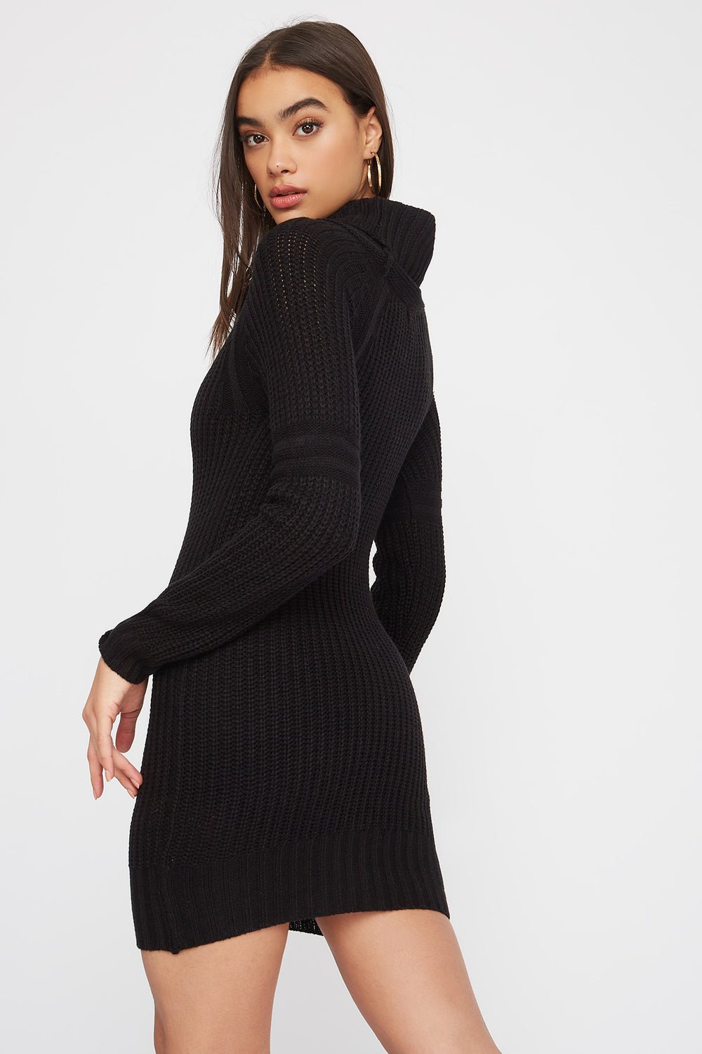 Cowl Neck Knit Sweater Dress Black