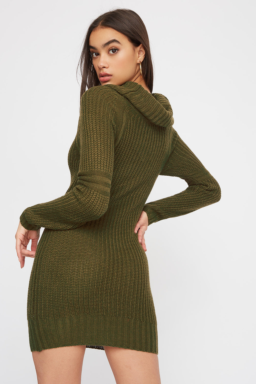 Cowl Neck Knit Sweater Dress Dark Green