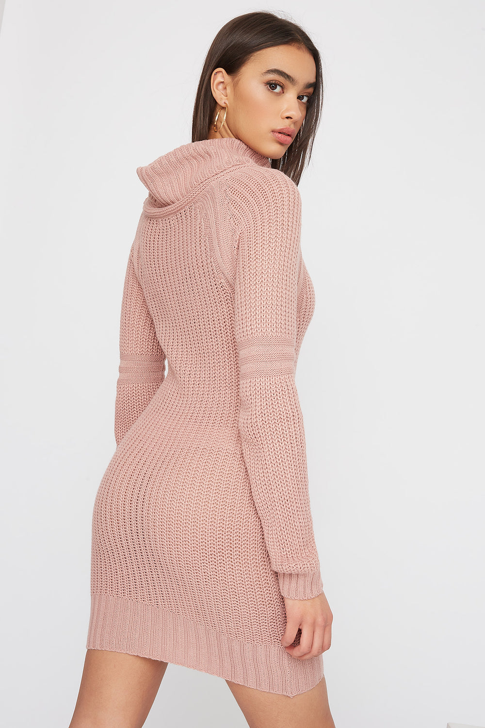 Cowl Neck Knit Sweater Dress Rose