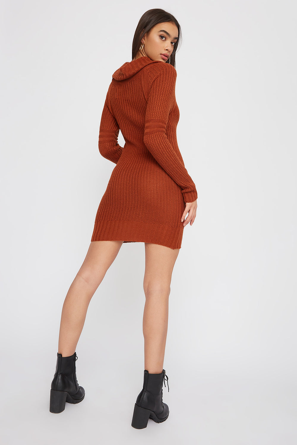 Cowl Neck Knit Sweater Dress Gold
