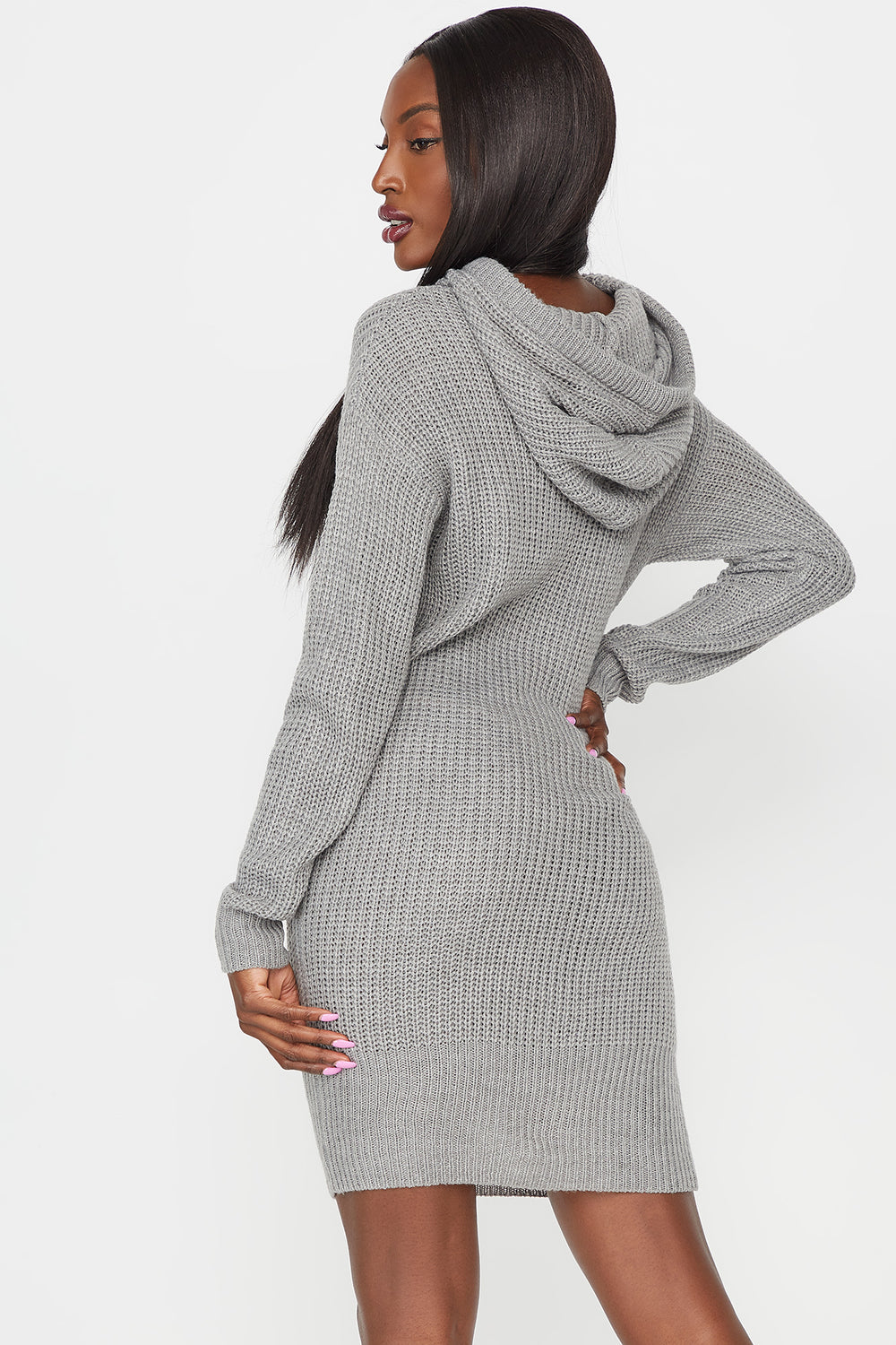 Knit Drawstring Hooded Sweater Dress Heather Grey