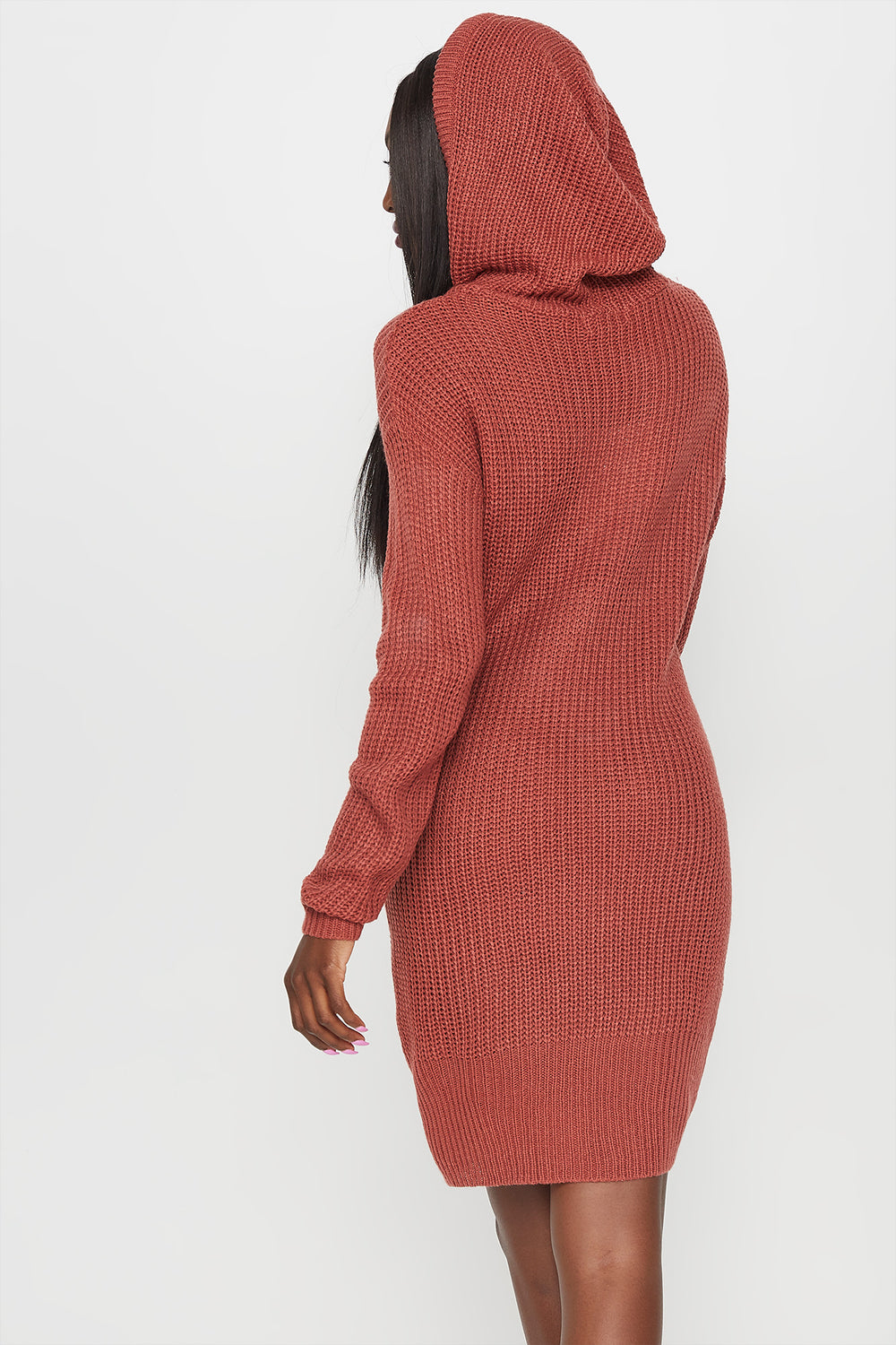 Knit Drawstring Hooded Sweater Dress Rose