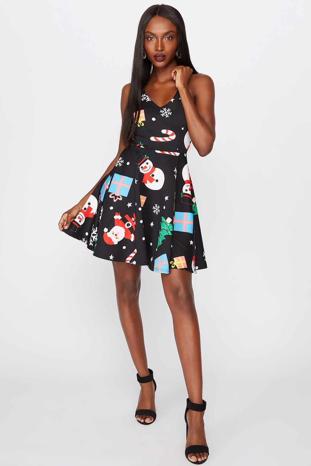Ugly Christmas Skater Dress Black