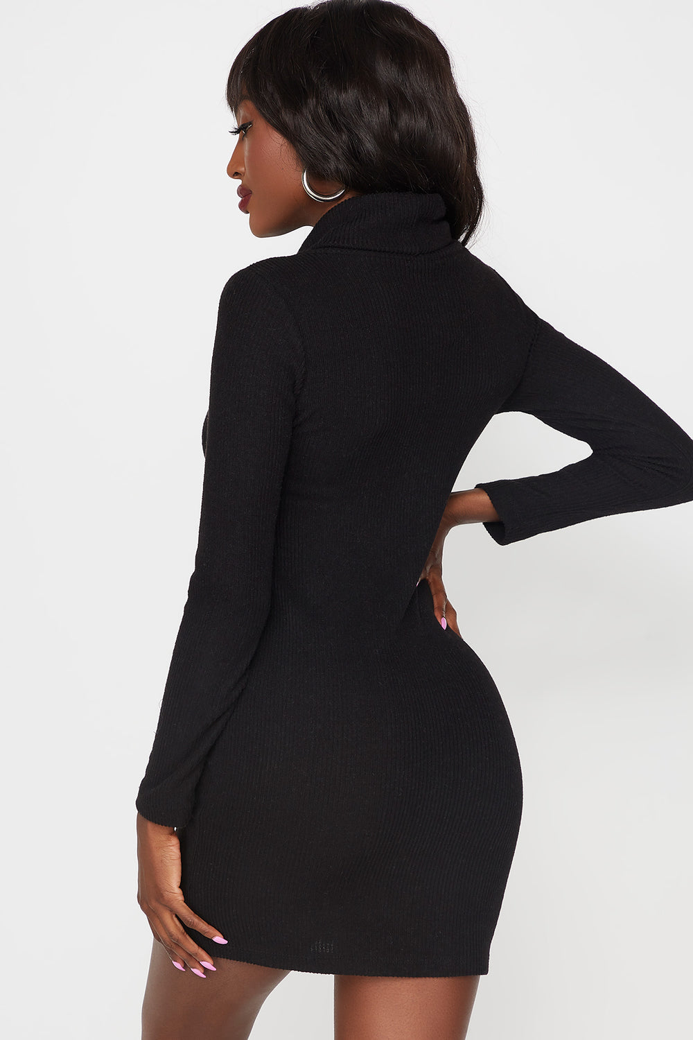 Ribbed Turtleneck Long Sleeve Bodycon Dress Black